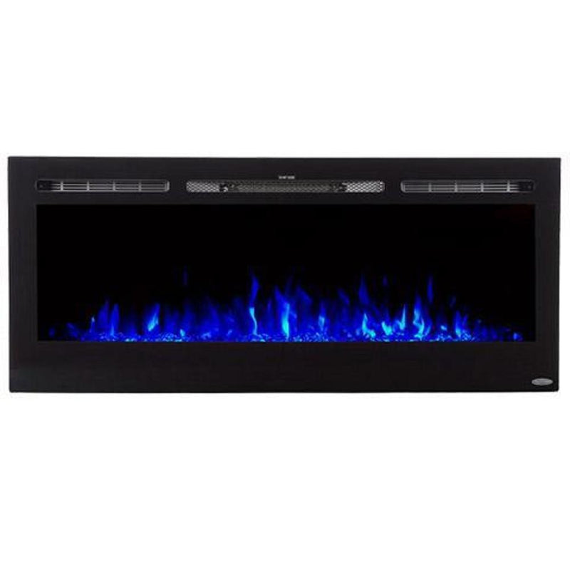 Touchstone Onyx Recessed 50 inch Electric Fireplace Black contemporary blue flame