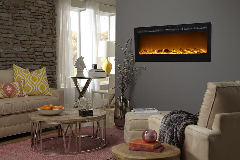 Touchstone Onyx Recessed 50 inch Electric Fireplace Black contemporary living room