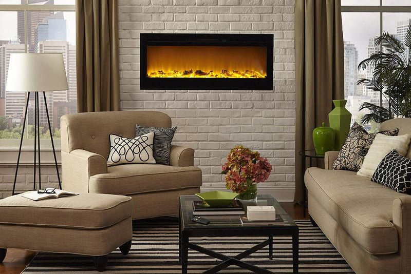 Touchstone Onyx Recessed 50 inch Electric Fireplace Black contemporary living 2