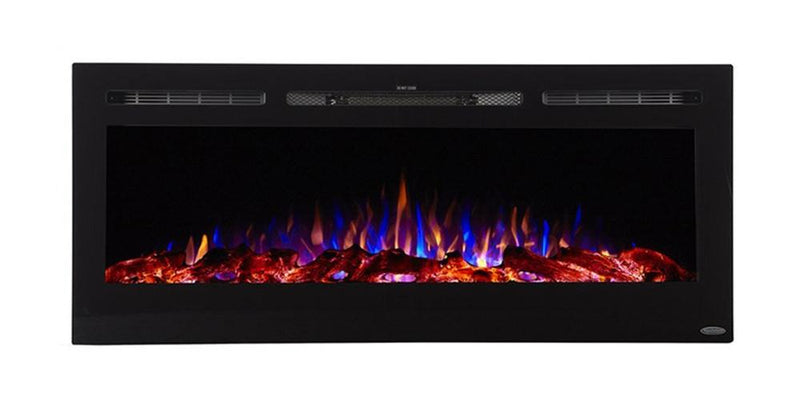 Touchstone Onyx Recessed 50 inch Electric Fireplace Black contemporary three flame