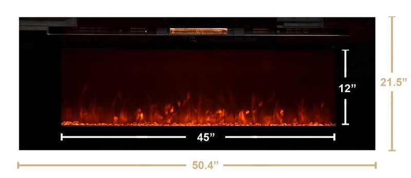 Touchstone Onyx Recessed 50 inch Electric Fireplace Black contemporary dimensions flame