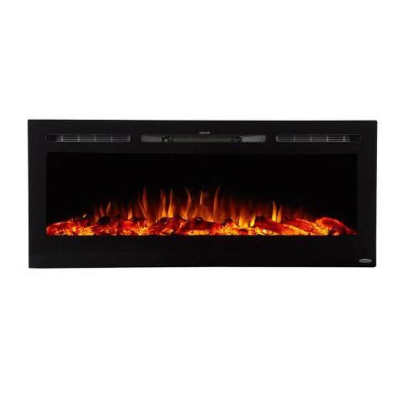 Touchstone Onyx Recessed 50 inch Electric Fireplace Black contemporary orange flame
