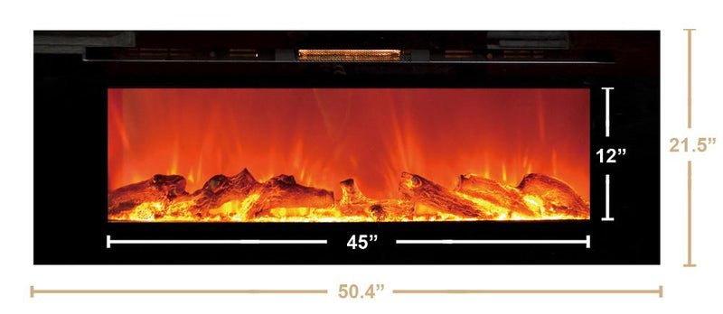 Touchstone Sideline Recessed 50 inch Electric Fireplace in Black