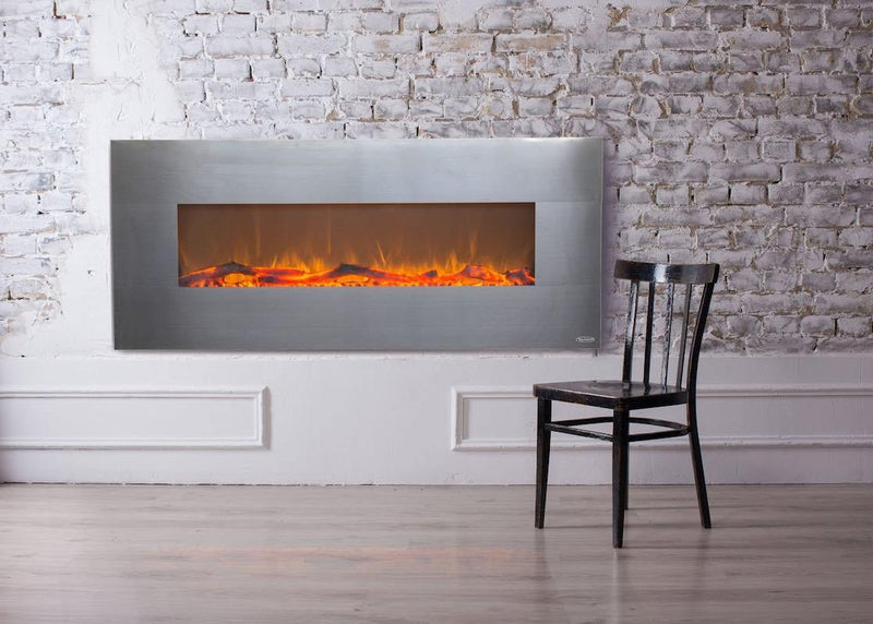 Touchstone Onyx Wall Mount 50 Inch Electric Fireplace Stainless Living