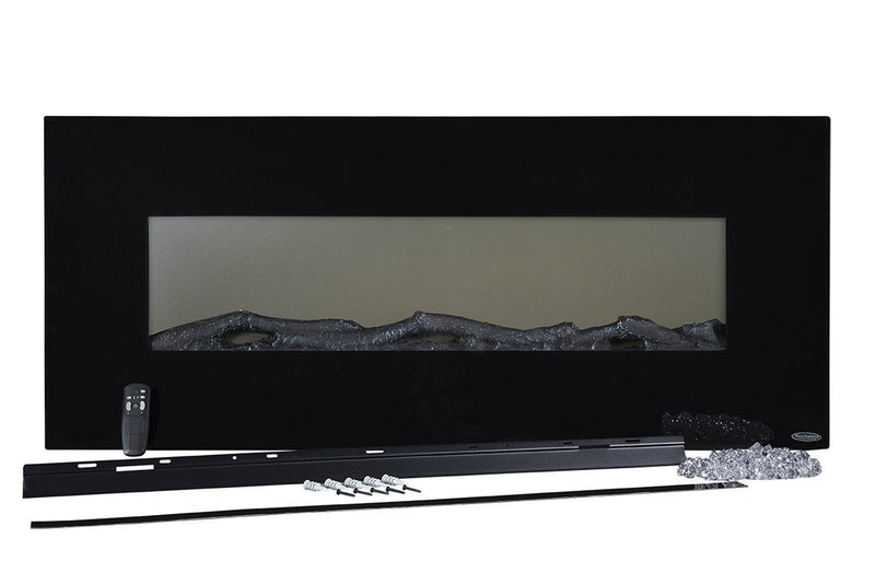 Touchstone Onyx Wall Mount 50 inch Electric Fireplace in Black box contents