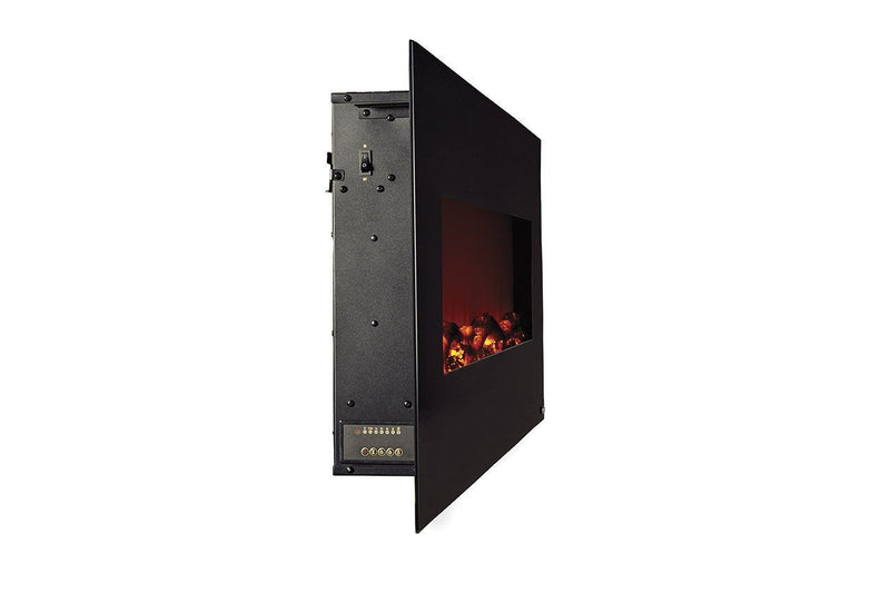 Touchstone Onyx Wall Mount 50 inch Electric Fireplace in Black side view