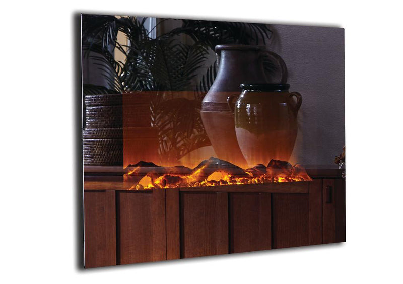 Touchstone Onyx Wall Mount 50 inch Electric Fireplace Mirror detail on