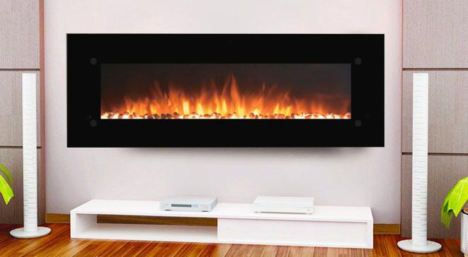 Touchstone Onyx Wall Mount 72 inch Electric Fireplace Black 2