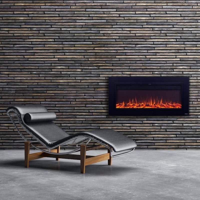 Touchstone Sideline Recessed 50 inch Electric Fireplace in Matte Steel
