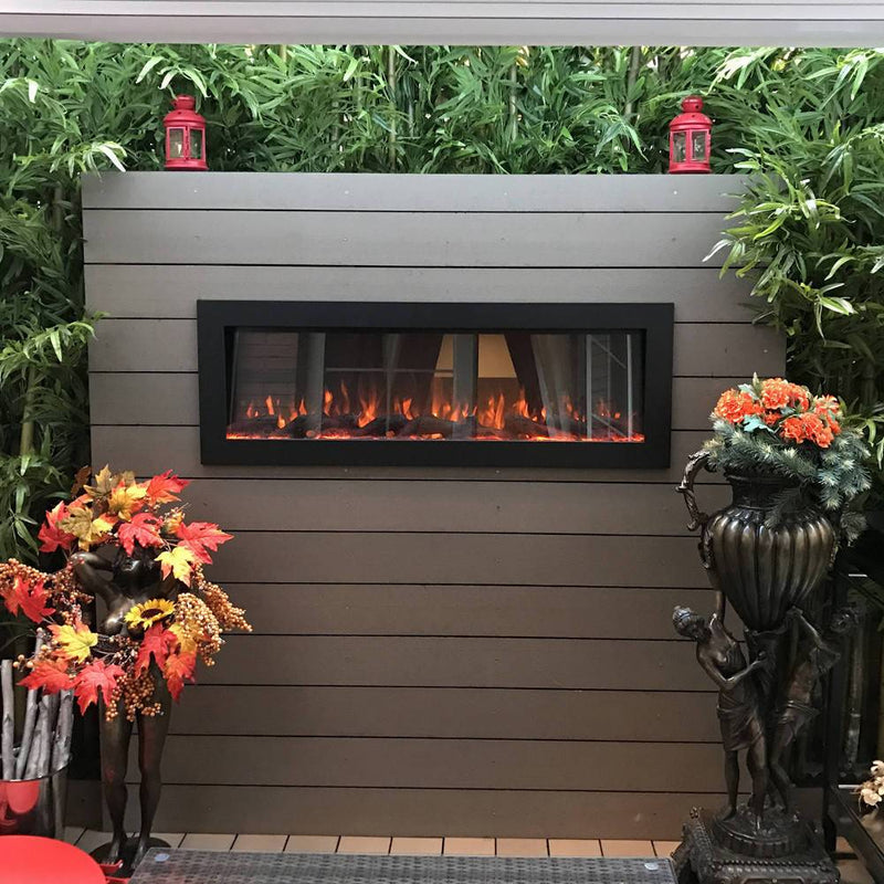 Touchstone Sideline Indoor Outdoor Wall Mount 50 Inch Electric Fireplace Black realistic