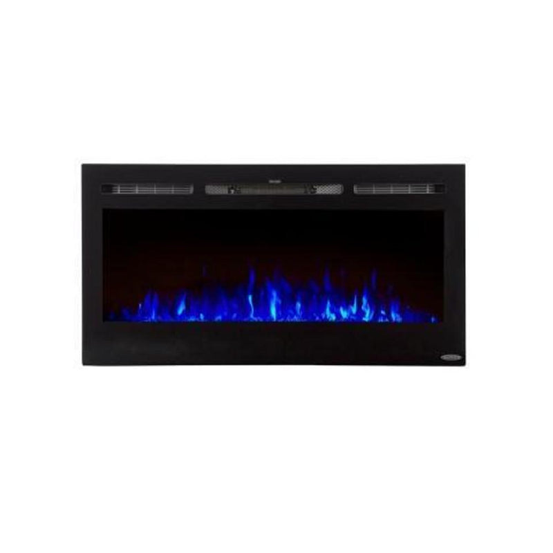 Touchstone Sideline Recessed 40 Inch Electric Fireplace Black blue contemporary