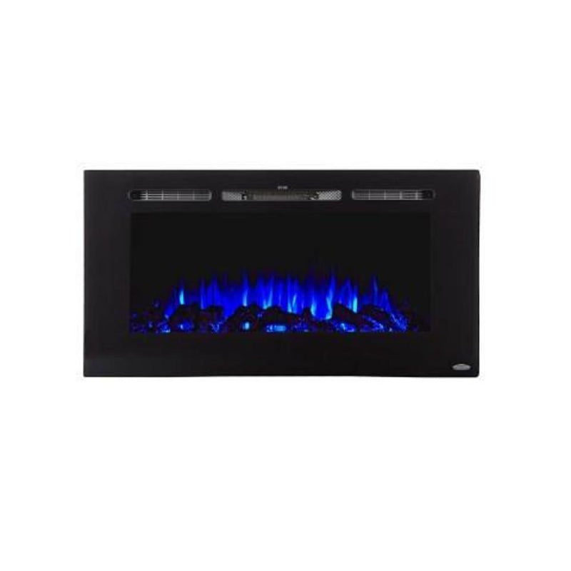 Touchstone Sideline Recessed 40 Inch Electric Fireplace Black blue modern