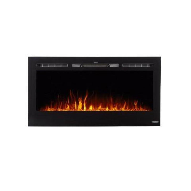 Touchstone Sideline Recessed 40 Inch Electric Fireplace Black orange modern