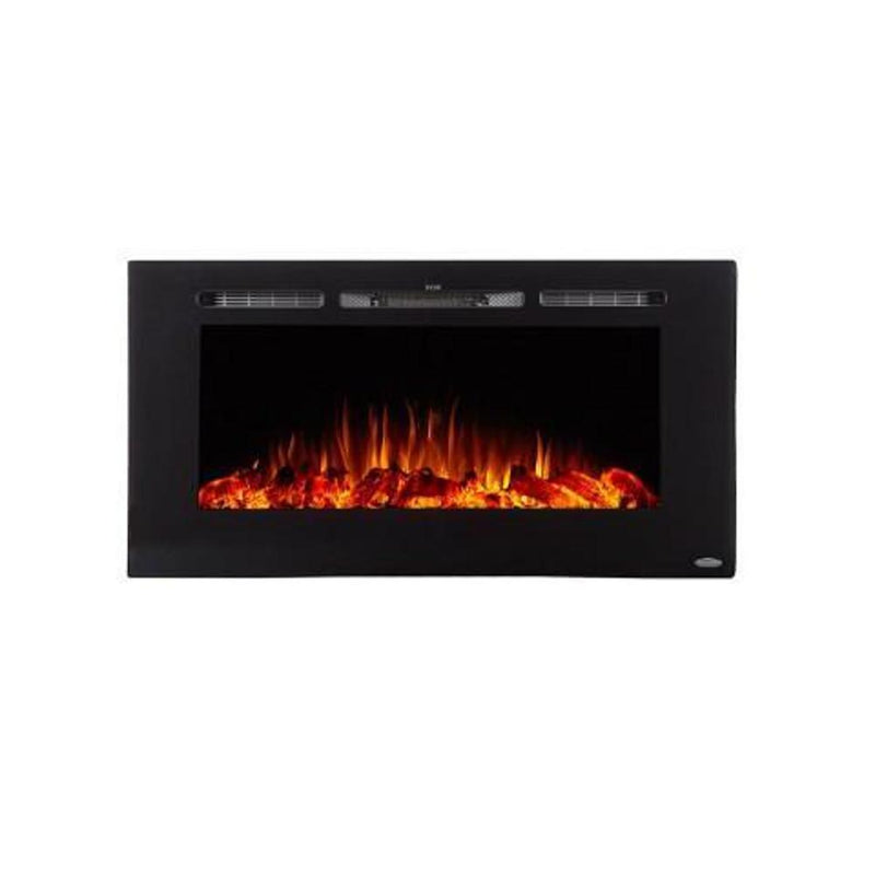 Touchstone Sideline Recessed 40 Inch Electric Fireplace Black orange realistic