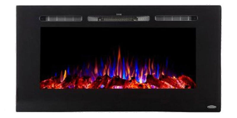 Touchstone Sideline Recessed 40 Inch Electric Fireplace Black tri color realistic