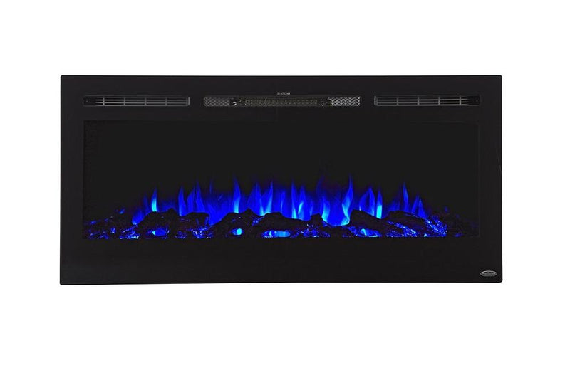 Touchstone Sideline Recessed 45 Inch Electric Fireplace Black Blue contemporary