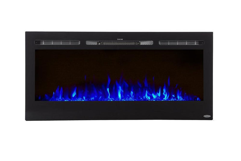 Touchstone Sideline Recessed 45 Inch Electric Fireplace Black blue modern