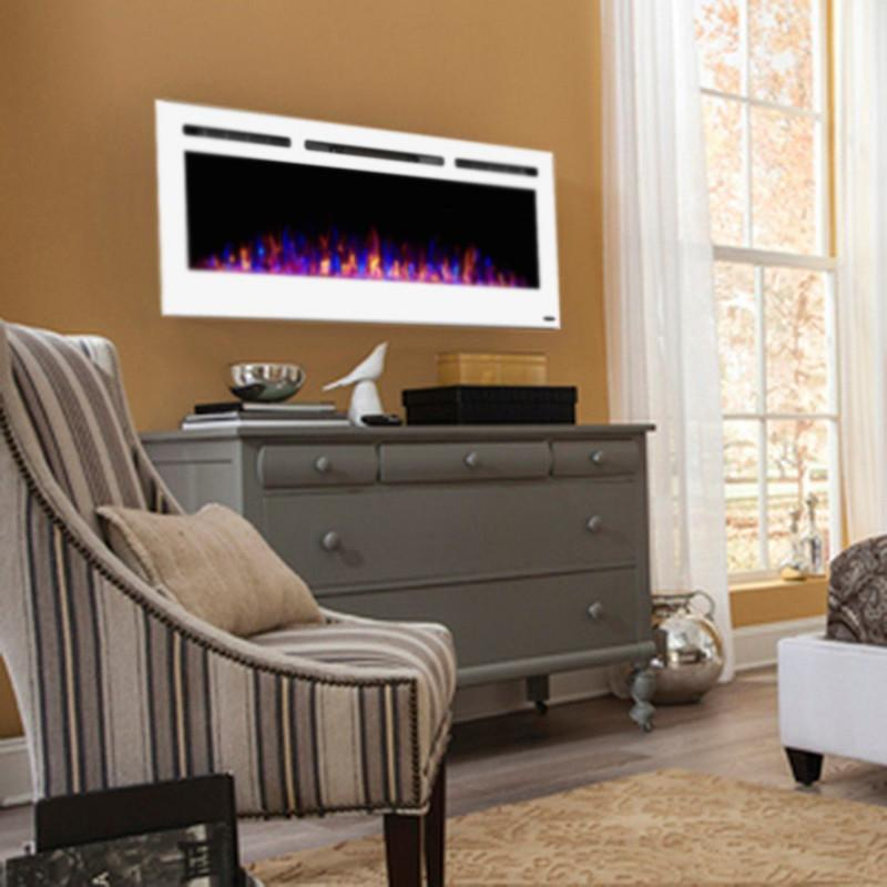 Touchstone Sideline Recessed 50 Inch Electric Fireplace in White