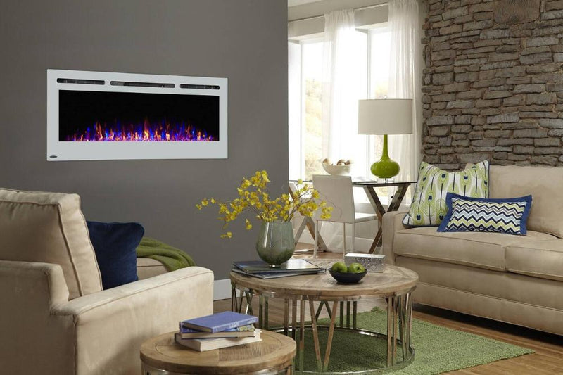 Touchstone Sideline Recessed 50 Inch Electric Fireplace White modern living
