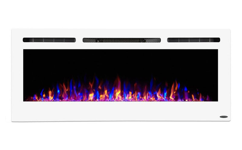 Touchstone Sideline Recessed 50 Inch Electric Fireplace White tri color modern