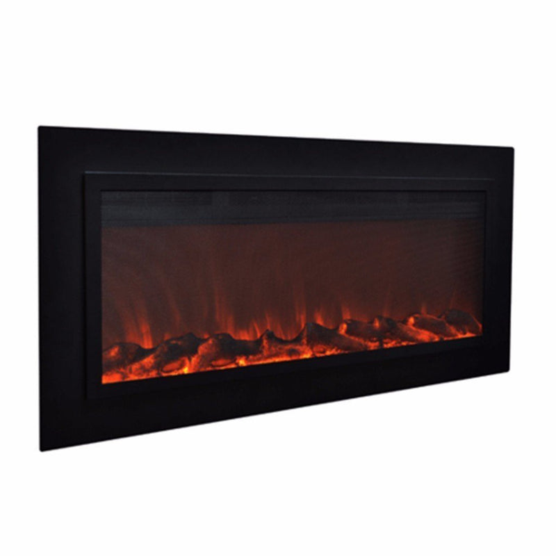 Touchstone Sideline Recessed 50 inch Electric Fireplace  Matte Steelrealistic angle