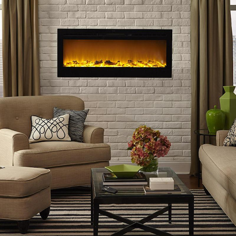 Touchstone Sideline Recessed 60 inch Electric Fireplace Black modern living room