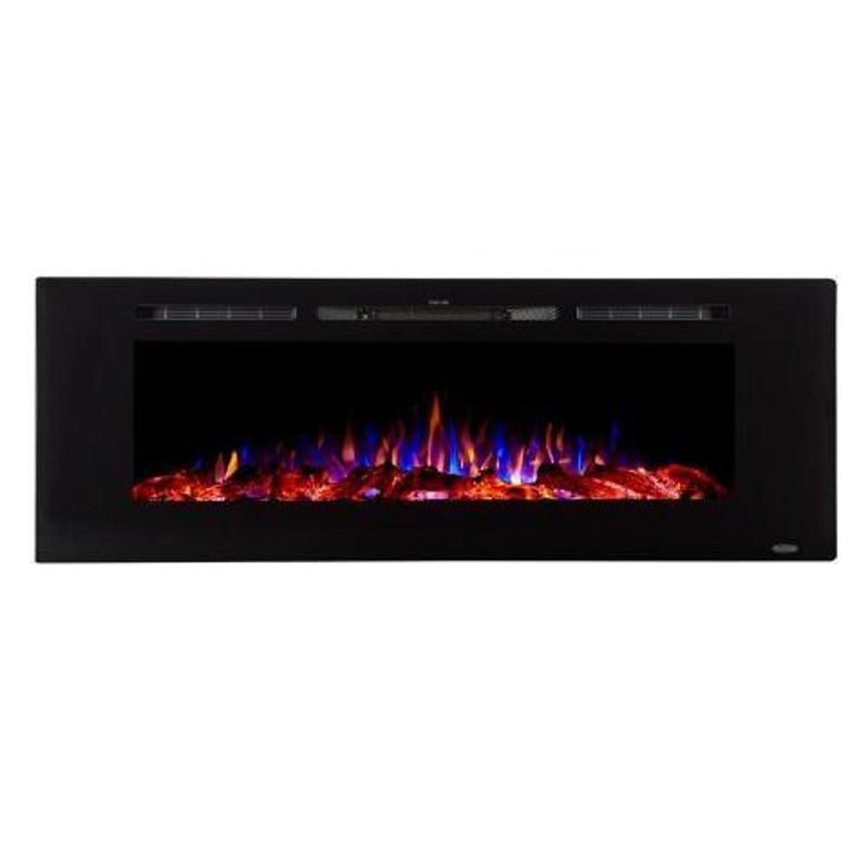 Touchstone Sideline Recessed 60 inch Electric Fireplace Black modern tri color