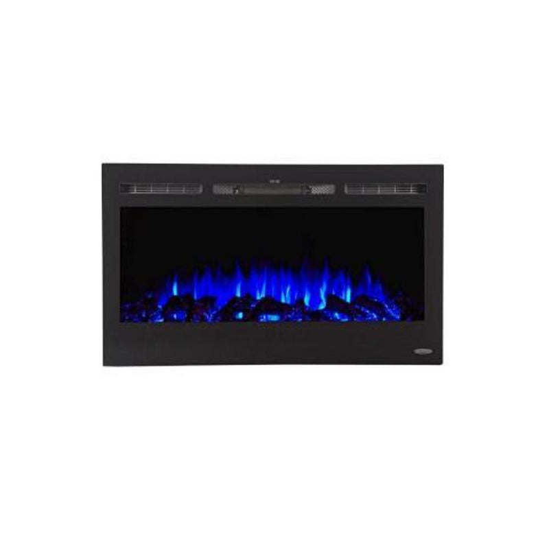Touchstone Sideline Recessed 36 inch Electric Fireplace Black blue logs