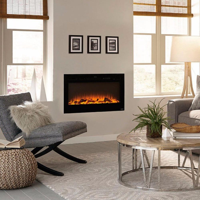 Touchstone Sideline Recessed 36 inch Electric Fireplace Black contemporary