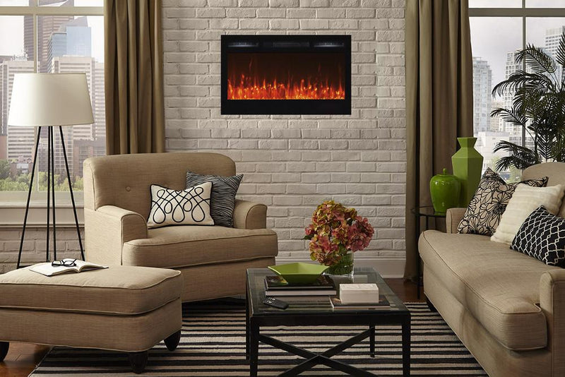 Touchtone Sideline Recessed 36 inch Electric Fireplace Black modern