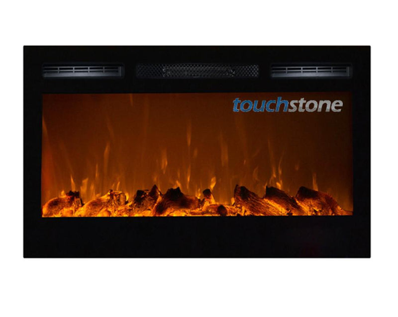 Touchstone Sideline Recessed 36 inch Electric Fireplace Black realistic 3