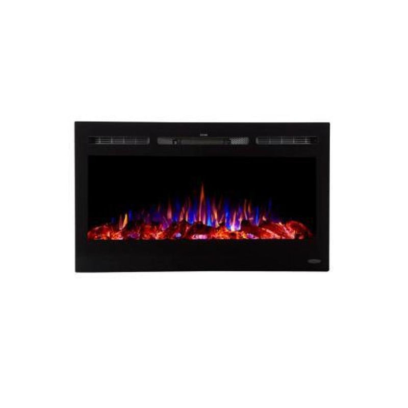 Touchstone Sideline Recessed 36 inch Electric Fireplace Black tri color