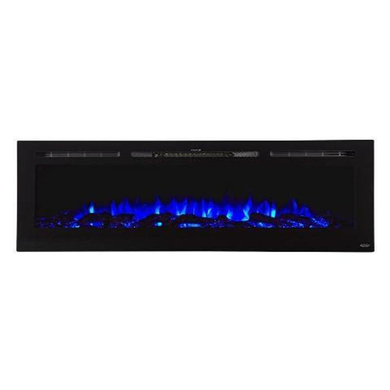 Touchtone Sideline Recessed 72 inch Electric Fireplace Black blue logs