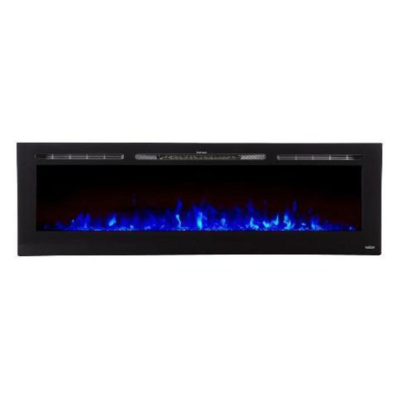 Touchtone Sideline Recessed 72 inch Electric Fireplace Black blue modern