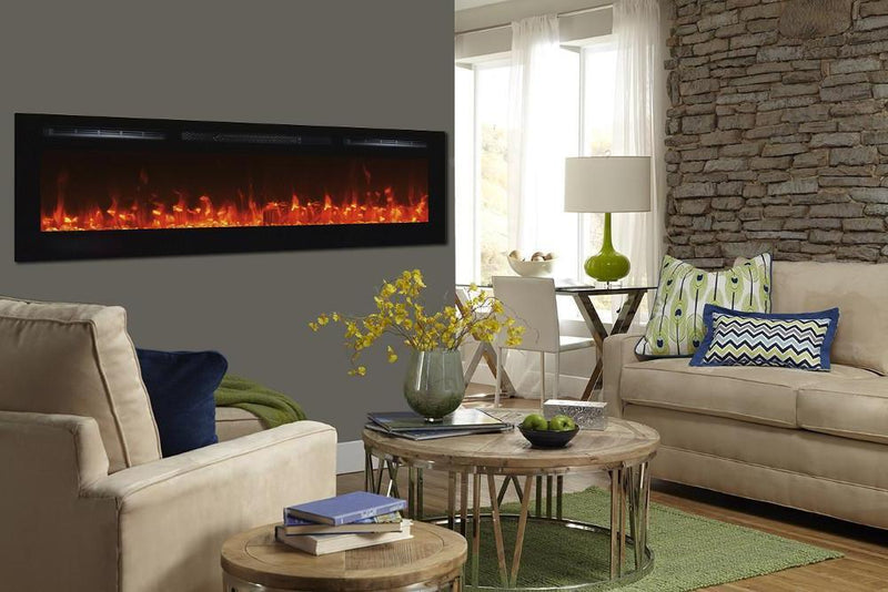 Touchtone Sideline Recessed 72 inch Electric Fireplace Black modern living