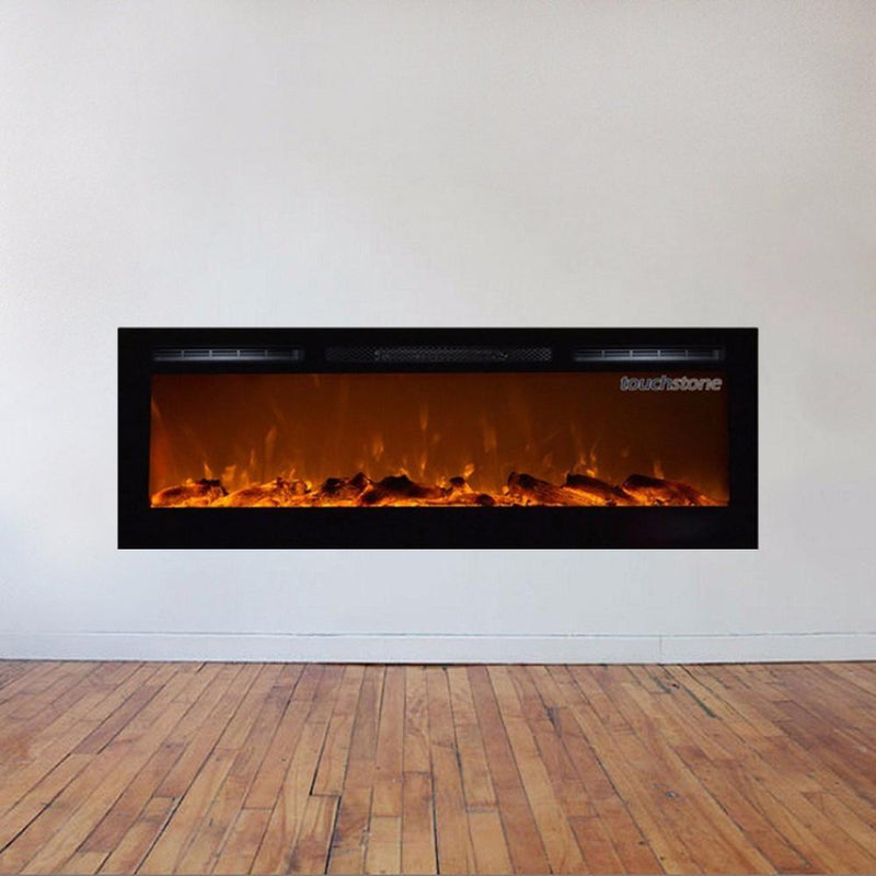 Touchtone Sideline Recessed 72 inch Electric Fireplace Black