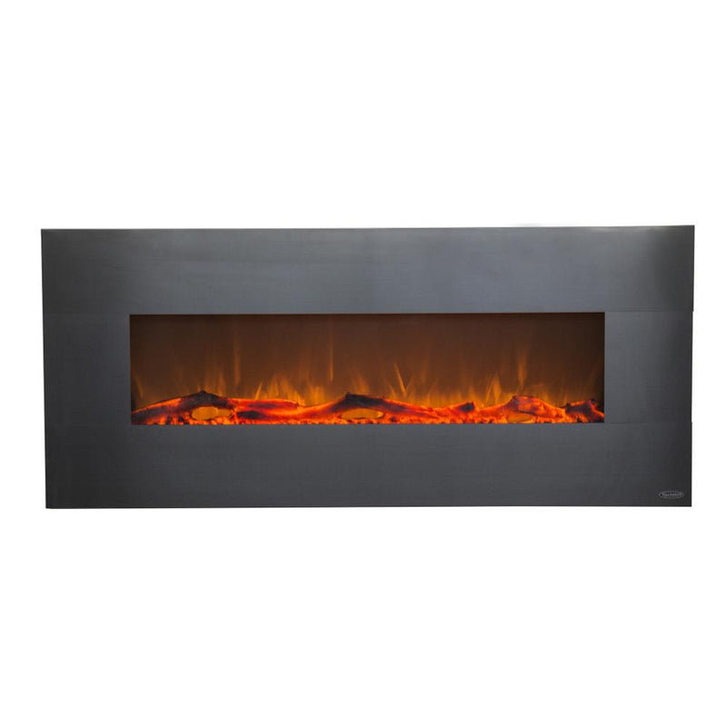 Touchstone Onyx Wall Mount 50 Inch Electric Fireplace Stainless orange modern