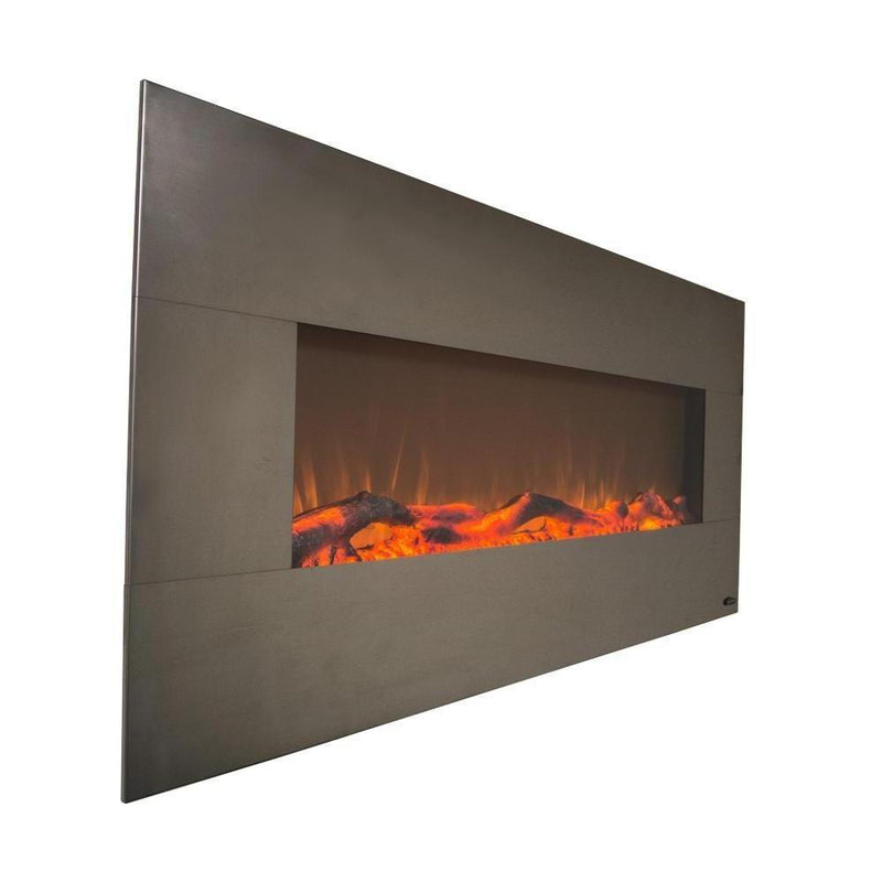 Touchstone Onyx Wall Mount 50 Inch Electric Fireplace Stainless orange realistic