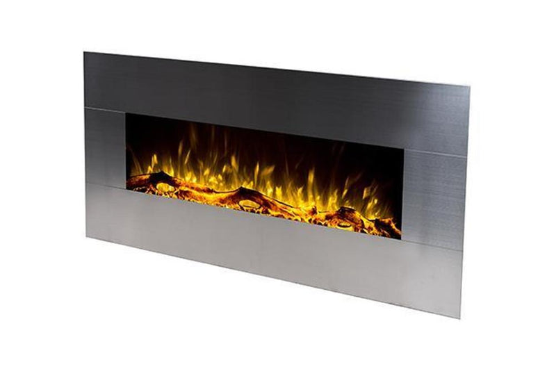 Touchstone Onyx Wall Mount 50 Inch Electric Fireplace Stainless yellow contemporary