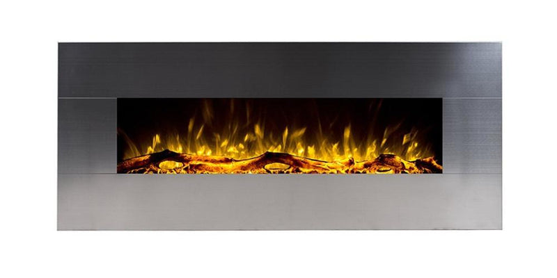 Touchstone Onyx Wall Mount 50 Inch Electric Fireplace Stainless yellow modern