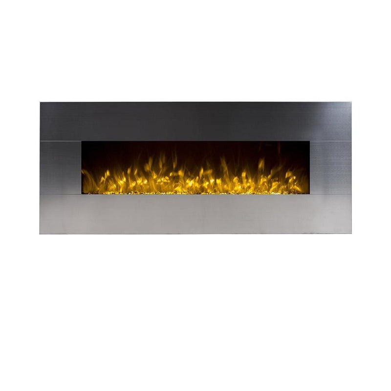 Touchstone Onyx Wall Mount 50 Inch Electric Fireplace Stainless yellow realistic