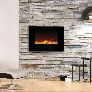 Amantii Wall Mount Flush 26 inch Electric Fireplace in Black or White Glass