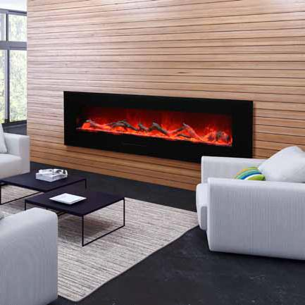 Amantii 72 inch Wall Mount Electric Fireplace in Black or White Glass