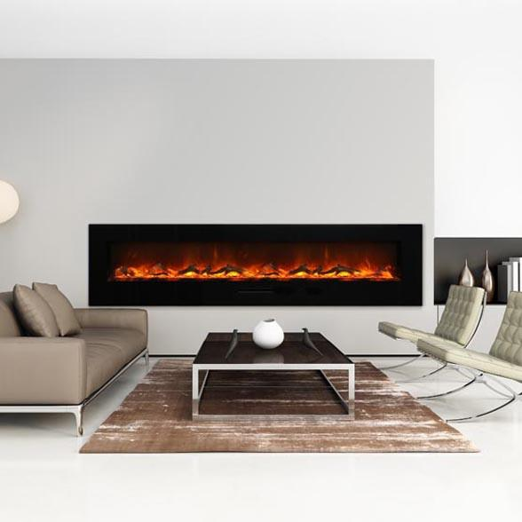 Amantii 88 inch Wall Mount Electric Fireplace in Black or White Glass