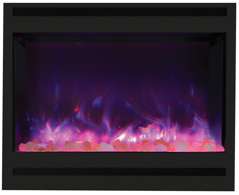 Amantii Zero Clearance Square 31 inch Electric Fireplace in Black Steel Pink FLame