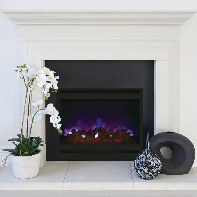 Amantii Zero Clearance Square 31 inch Electric Fireplace in Black Steel