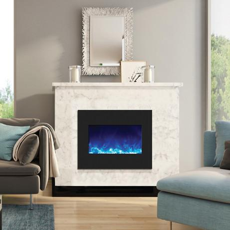 "Amantii 26"" Zero Clearance Electric Fireplace in Black or White Glass"