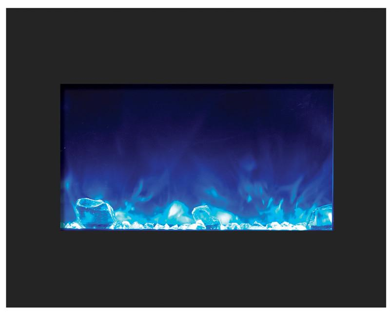 Amantii 26 in Zero Clearance Electric Fireplace in Black Glass Blue Flame