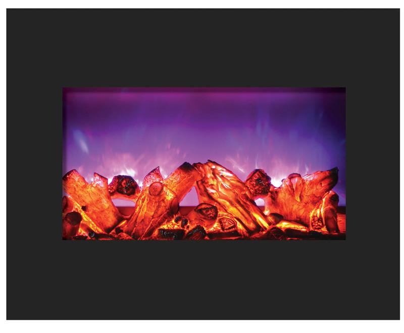 Amantii 26 inch Zero Clearance Electric Fireplace Black Glass