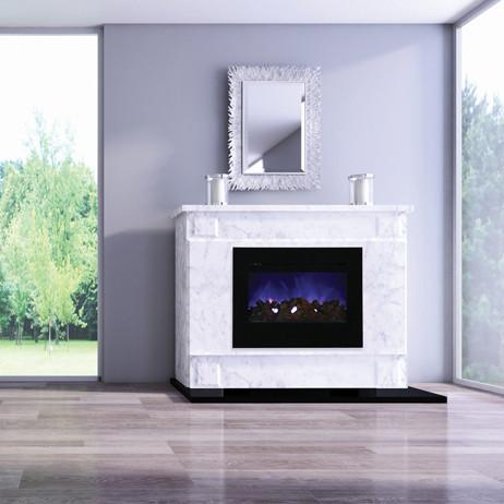 Amantii Zero Clearance Flush Mount 30 inch Electric Fireplace in Black Glass